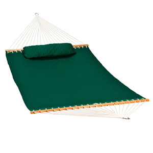 13-foot Diamond Quilted Hammock w/ Matching Pillow, Green