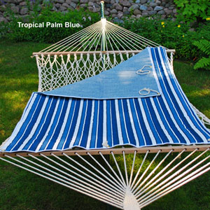 Tropical Palm Stripe Quilted Reversible Hammock Pad