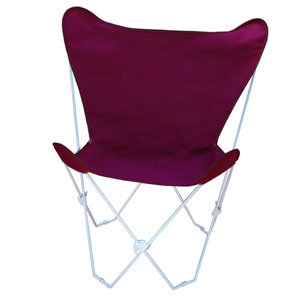 White Butterfly Chair with Burgundy Cover