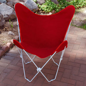 White Butterfly Chair with Red Cover