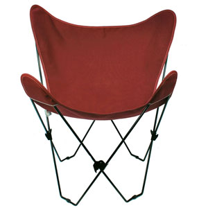Black Butterfly Chair with Burgundy Cover