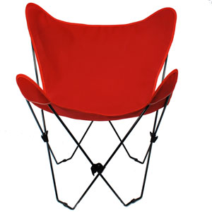 Black Butterfly Chair with Red Cover