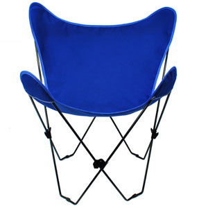 Black Butterfly Chair with Royal Blue Cover