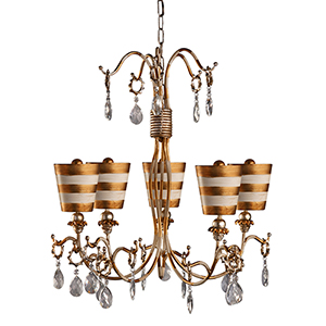 Tivoli Cream Patina Five-Light Chandelier with Hand Painted Gold
