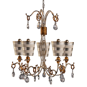 Tivoli Cream Patina Five-Light Chandelier with Hand Painted Silver