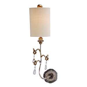Tivoli Cream Patina and Silver One-Light Wall Sconce