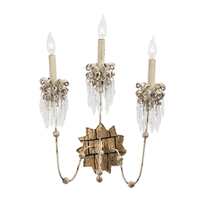 Venetian Hand-Painted Beige Patina Three-Light Wall Sconce