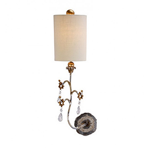 Trellis Patina and Silver Leaf One-Light Wall Sconce