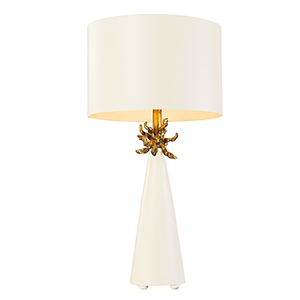 Neo French White and Gold Leaf One-Light Table Lamp