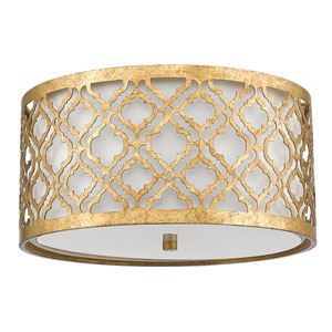 Arabella Distressed Gold Two-Light Flush Mount