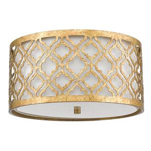 Arabella Distressed Gold Two-Light Flush Mount