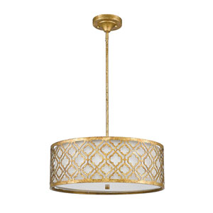 Arabella Distressed Gold 21-Inch Three-Light Pendant