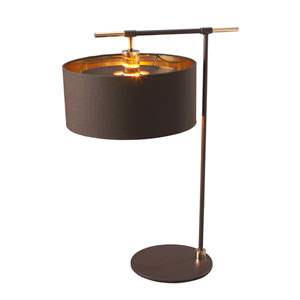 Balance Polished Brass and Brown One-Light Table Lamp