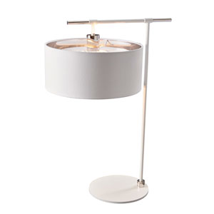 Balance Polished Nickel and White One-Light Table Lamp