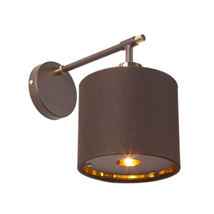 Balance Polished Brass and Brown One-Light Wall Sconce