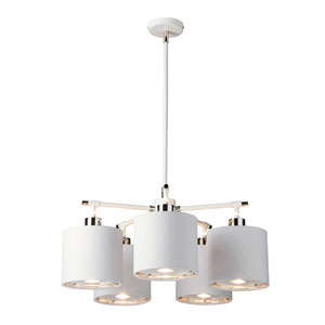 Balance Polished Nickel and White Five-Light Chandelier