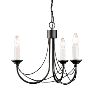 Carisbrooke Black Three-Light Chandelier