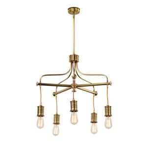 Douille Aged Brass Five-Light Chandelier
