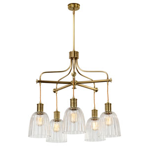 Douille Aged Brass Five-Light Chandelier with Glass Shades