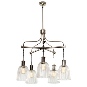 Douille Polished Nickel Five-Light Chandelier with Glass Shades