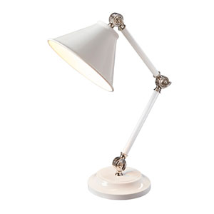 Provence Polished Nickel and White One-Light Table Lamp