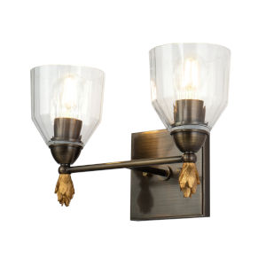 Fun Finial Black Gold Two-Light Wall Sconce
