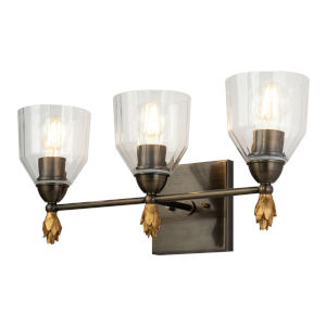 Fun Finial Dark Bronze Three-Light Flame Wall Sconce