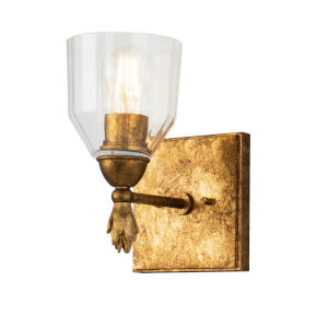 Fun Finial Gold Leaf with Antique One-Light Finial Wall Sconce