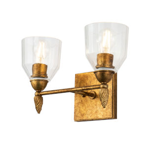Fun Finial Gold Leaf with Antique Two-Light Wall Sconce