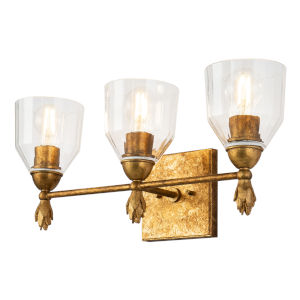 Fun Finial Gold Leaf with Antique Three-Light Flame Wall Sconce