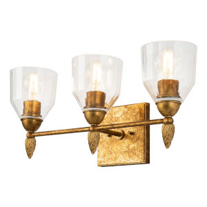 Fun Finial Gold Leaf with Antique Three-Light Acorn Wall Sconce