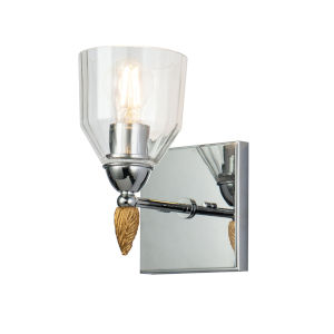 Fun Finial Polished Chrome Gold One-Light Wall Sconce