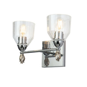 Fun Finial Polished Chrome Silver Two-Light Wall Sconce