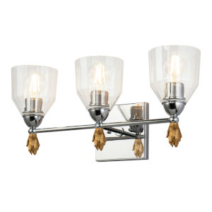 Fun Finial Polished Chrome Three-Light Flame Wall Sconce