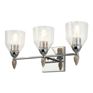 Fun Finial Polished Chrome Silver Three-Light Wall Sconce