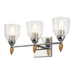 Fun Finial Polished Chrome Gold Three-Light Wall Sconce