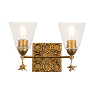 Star Gold Leaf with Antique Two-Light Bath Vanity