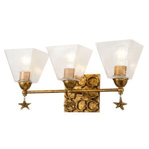 Star Gold Leaf with Antique Three-Light Bath Vanity
