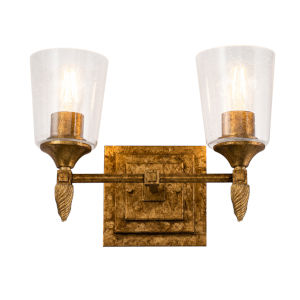 Vetiver Gold Leaf with Antique Two-Light Bath Vanity