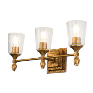 Vetiver Gold Leaf Three-Light Bath Vanity