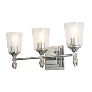 Vetiver Polished Chrome Silver Three-Light Bath Vanity