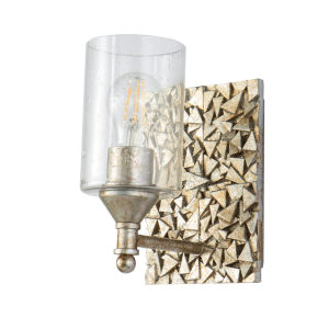 Mosaic Silver Leaf with Antique One-Light Wall Sconce