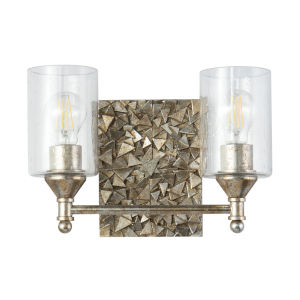 Mosaic Silver Leaf with Antique Two-Light Bath Vanity