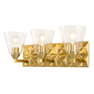 Alpha Antique Brass Three-Light Bath Vanity