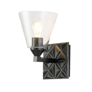 Alpha Matte Black One-Light Wall Sconce