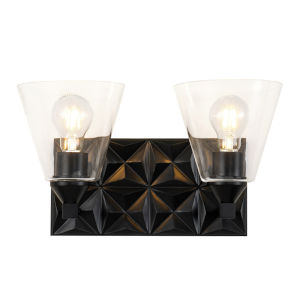 Alpha Matte Black Two-Light Wall Sconce