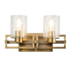 Estes Antique Brass Two-Light Bath Vanity