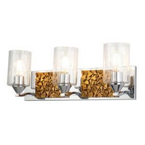 Bocage Polished Chrome Gold Three-Light Bath Vanity