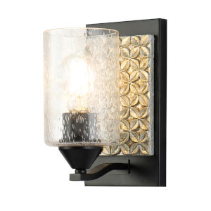 Arcadia Matte Black Light Bronze One-Light Wall Sconce
