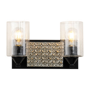 Arcadia Matte Black Light Bronze Two-Light Bath Vanity